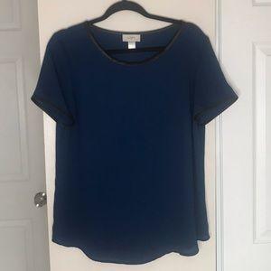 Ann Taylor LOFT blue and black blouse size M